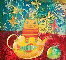 Cat in Yellow Teapot by DinaArt