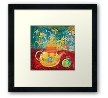 Cat in Yellow Teapot Framed Print