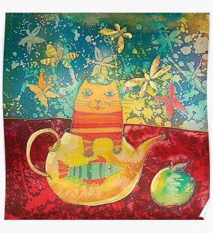 Cat in Yellow Teapot Poster