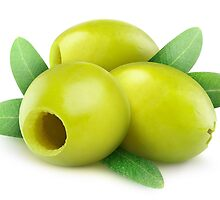 Three pitted green olives by 6hands
