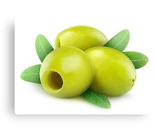 Three pitted green olives Canvas Print