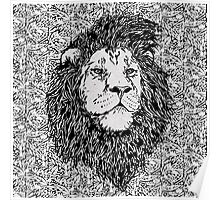 King of the Jungle, Lion in Black & White  Poster