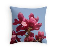 Magnolia Flowers Art Print Blue Sky Floral Throw Pillow