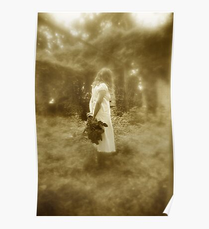 Woman In White (Sepia) Poster