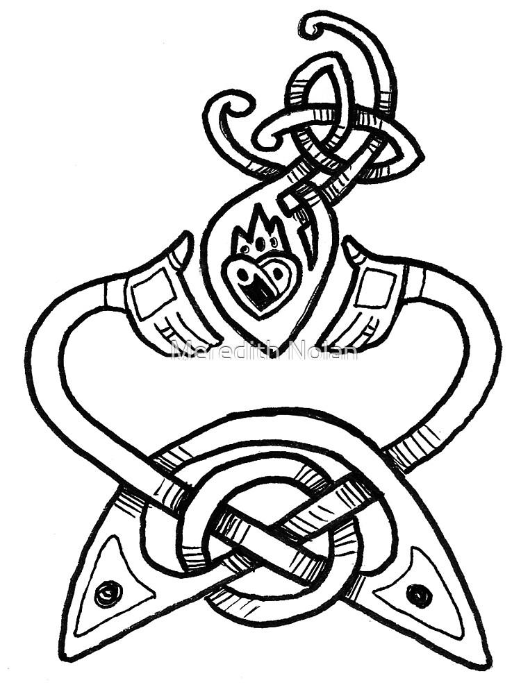 Claddagh Design - B&W by Meredith Nolan