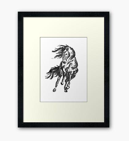 Sumi-e Horse Framed Print
