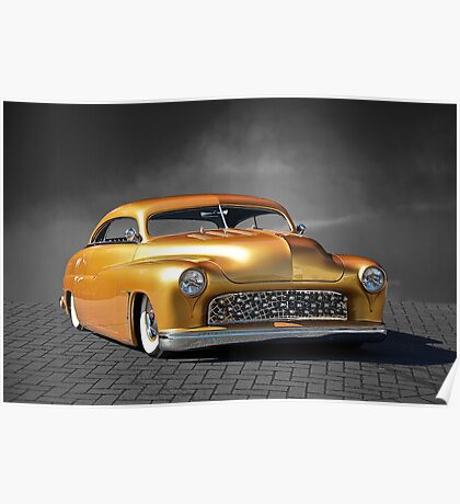 1950 Mercury Custom on B/W Poster