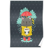 Cat, coffee and rain Poster