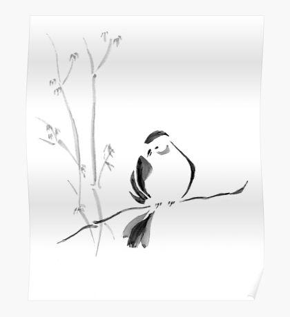 Sumi-e Bird Poster