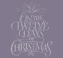 Chalkboard Lettering '12 Days of Christmas' Elegant Modern Chalk Carol Kids Tee