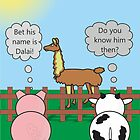 Funny Animals Dalai Llama Design Hilarious Rudy Pig & Moody Cow   by Samantha Harrison