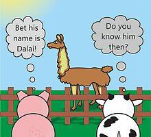 Funny Animals Dalai Llama Design Hilarious Rudy Pig & Moody Cow   by Samantha Harrison