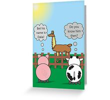 Funny Animals Dalai Llama Design Hilarious Rudy Pig & Moody Cow   Greeting Card