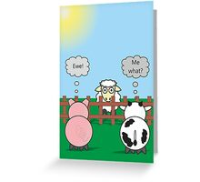 Funny Animals Ewe Design Hilarious Rudy Pig & Moody Cow   Greeting Card