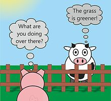Funny Animals Grass is Greener Design Hilarious Rudy Pig & Moody Cow   by Catherine Roberts