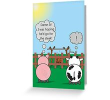 Funny Animals Hog Roast Design Hilarious Rudy Pig & Moody Cow   Greeting Card