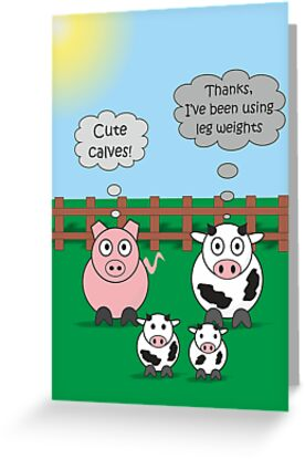 Funny Animals Cute Calves Design Hilarious Rudy Pig & Moody Cow   by Samantha Harrison
