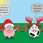 Funny Animals Christmas Design Hilarious Rudy Pig & Moody Cow   by Samantha Harrison