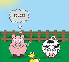 Funny Animals Duck Design Hilarious Rudy Pig & Moody Cow   by Samantha Harrison