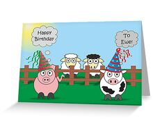 Funny Animals Birthday Design Hilarious Rudy Pig & Moody Cow   Greeting Card