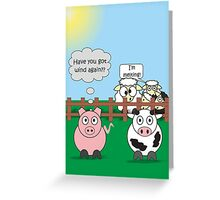 Funny Animals Wind Design Hilarious Rudy Pig & Moody Cow   Greeting Card