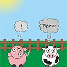 Funny Animals Pigasso Design Hilarious Rudy Pig & Moody Cow    by Catherine Roberts