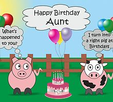 Funny Animals Aunt Birthday Hilarious Rudy Pig & Moody Cow    by Catherine Roberts