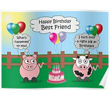 Funny Animals Best Friend Birthday Hilarious Rudy Pig & Moody Cow    Poster
