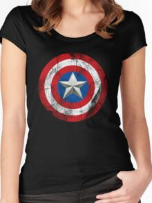 Cap America Shield with star Women's Fitted Scoop T-Shirt