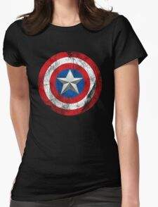 Cap America Shield with star Womens Fitted T-Shirt