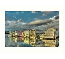 Last sun rays of the day on these house-boats in Key West, Florida Art Print