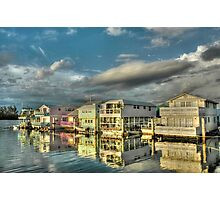Last sun rays of the day on these house-boats in Key West, Florida Photographic Print