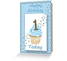 1 Today Blue Boys Card with Candle and Cake & Stars Greeting Card