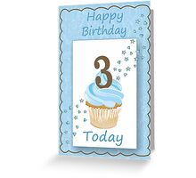 3 Today Blue Boys Card with Candle and Cake & Stars Greeting Card