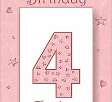 4 Today Pink Girls Birthday Card with Stars & Hearts by Samantha Harrison
