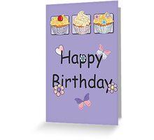 Purple Cupcake Trio Happy Birthday Card Greeting Card
