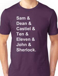 Superwholock Names. Unisex T-Shirt