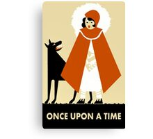 Naive art deco Little Red Riding Hood Canvas Print