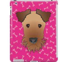 Airedale Terrier Cartoon Illustration on Pink Bones Background iPad Case/Skin
