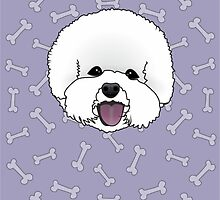 Bichon Frise Cartoon Illustration on Purple Bones Background by Catherine Roberts