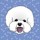 Bichon Frise Cartoon Dog Illustration on Blue Bones Background by Samantha Harrison