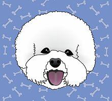 Bichon Frise Cartoon Dog Illustration on Blue Bones Background by Samantha Harrison