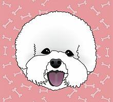 Bichon Frise Cartoon Dog Illustration on Pink Bones Background by Samantha Harrison