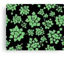 Water caltrop pattern in black and green Canvas Print