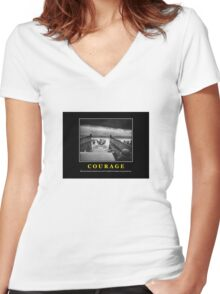 Courage -- D Day Poster Women's Fitted V-Neck T-Shirt