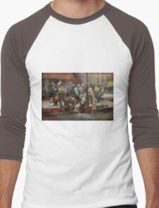 City - NY - Drinking water from a street pump 1910 Men's Baseball ¾ T-Shirt