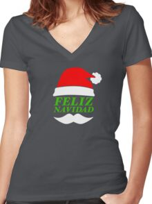 Feliz Navidad Santa Women's Fitted V-Neck T-Shirt