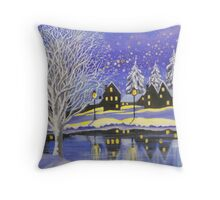 VILLAGE IN THE SNOW Throw Pillow