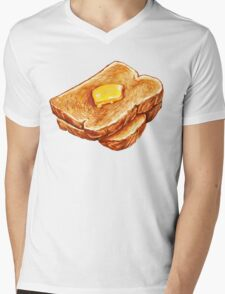 Buttered Toast Pattern Mens V-Neck T-Shirt