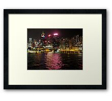 Victoria Harbour at Night Framed Print